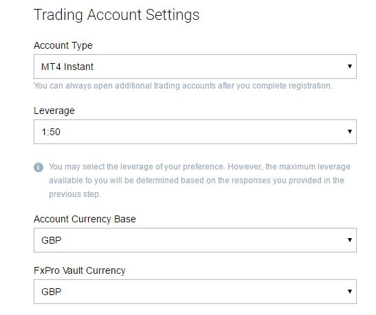 trading account settings