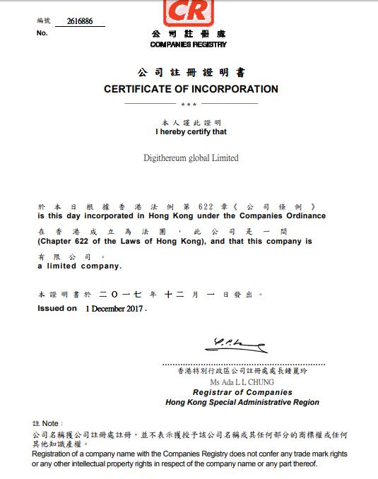 certificate digithereum