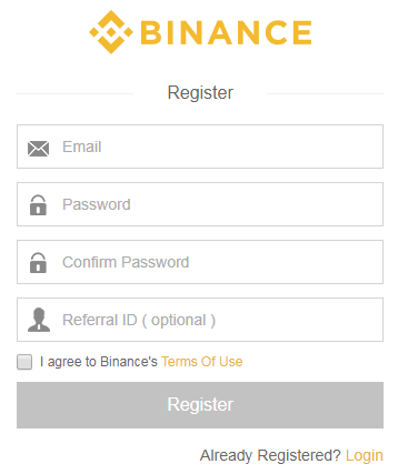 register binance