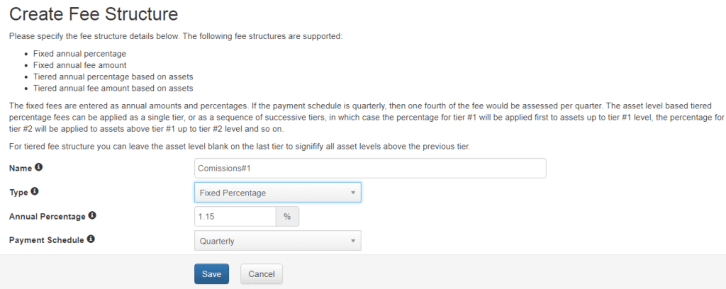 create fee structure