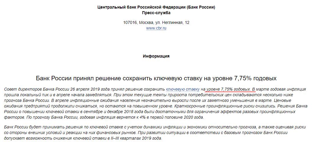 Банк России текущая ключевая ставка